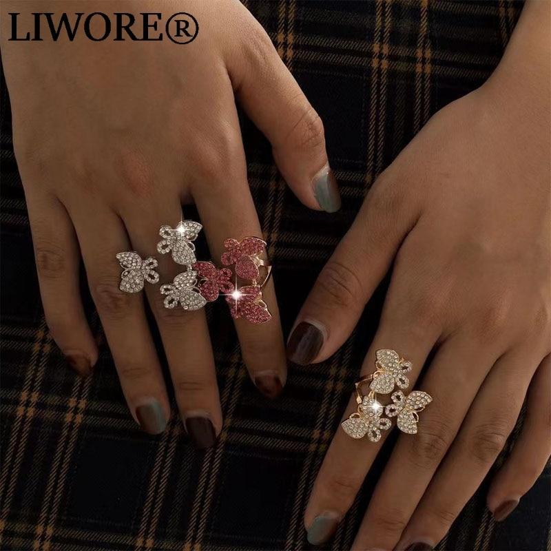 Liwore Vintage Butterfly Women Ring Fashion Zircon Shiny Street Gold Diamond Jewelry