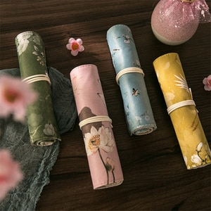 Original Chinese style Pen Pencil Bag Wrap Roll Vintage flower Apricot Lotus Crane Storage Pouch for pens Stationery School F008