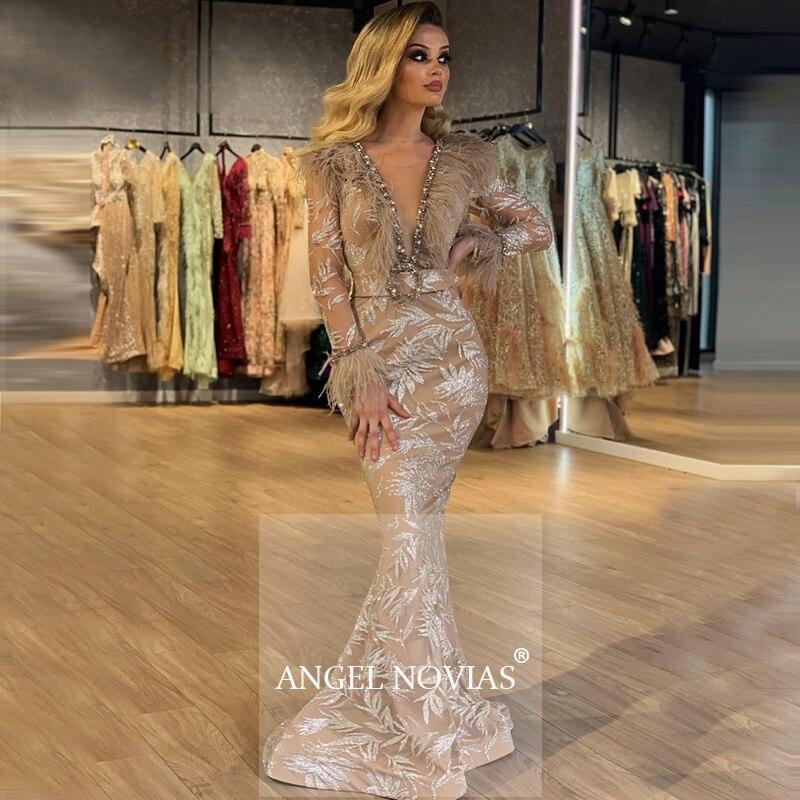 Manga larga sirena Champagne Glitters Abendkleider vestido De noche árabe 2020 Robe De Soiree Longue 2018 avondjurk
