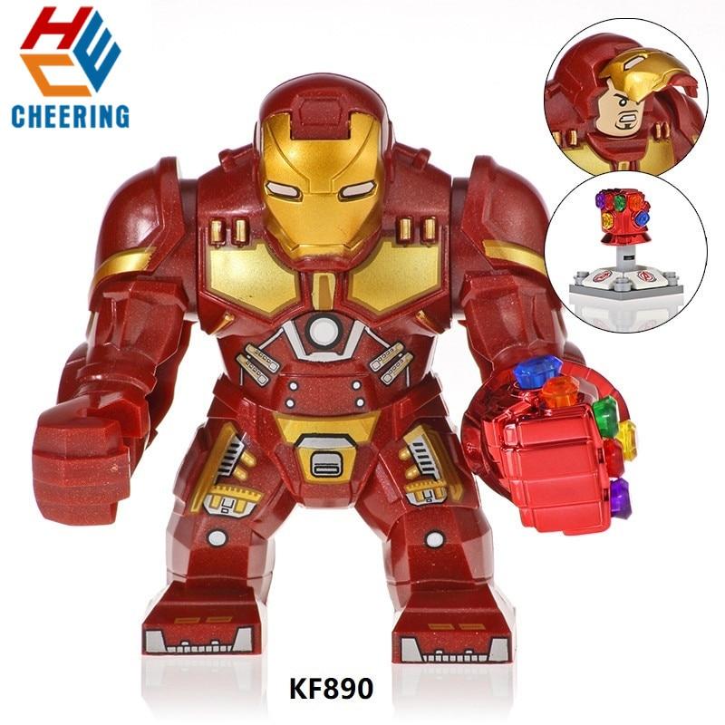 Kf890 única venda blocos de construção tamanho grande super heróis vingadores homem ferro hulkbuster tijolos figuras aprendizagem brinquedos para crianças