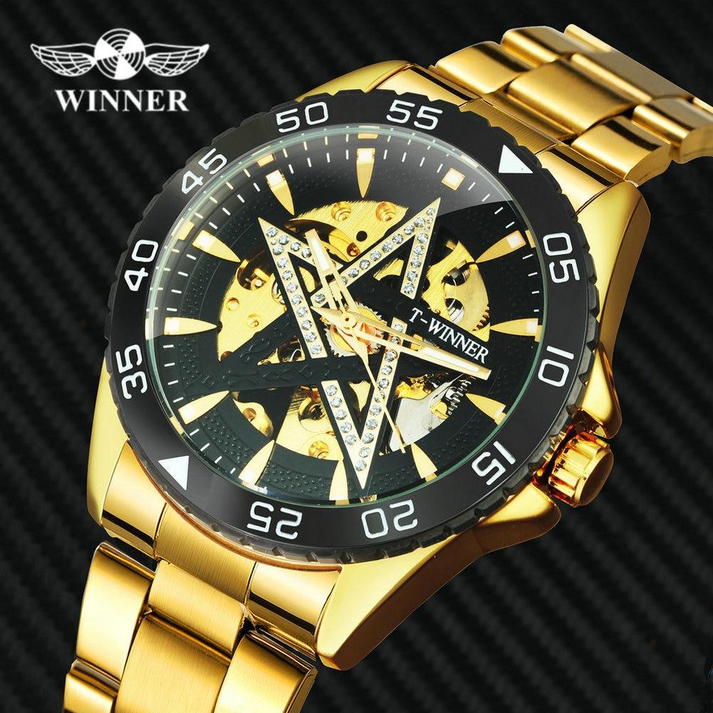 Победитель официальные роскошные механические часы автоматический стальной браслет Скелетон часы для мужчин алмаз Iced Out наручные часы опт...
