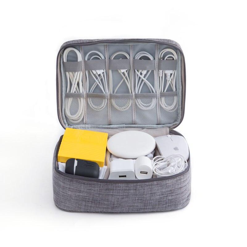 Bolsa de viaje para accesorios, bolso portátil para almacenamiento de suministros digitales...