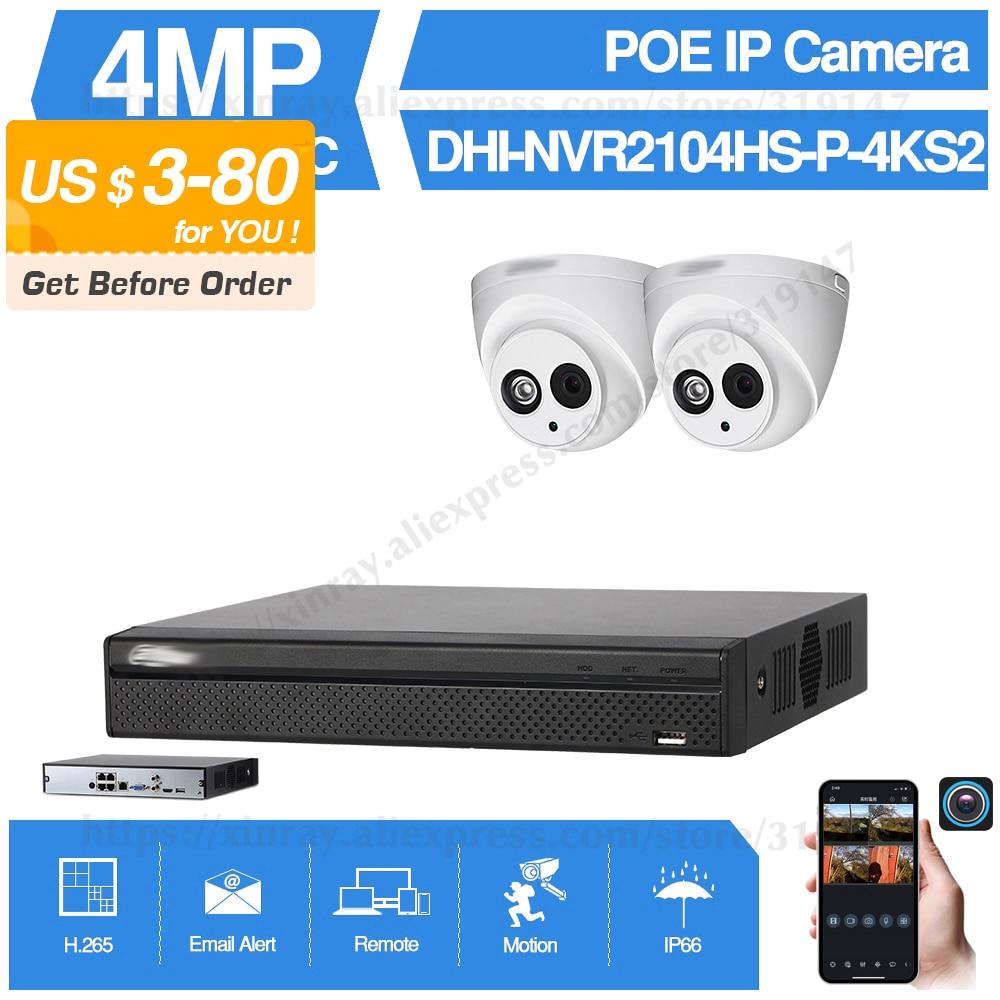 Dahua 4MP 4 + 2/4 sistema de cámaras de seguridad 4MP cámara IP IPC-HDW4433C-A 8CH POE NVR2104HS-P-4KS2 vigilancia P2P sistema Vista Remota