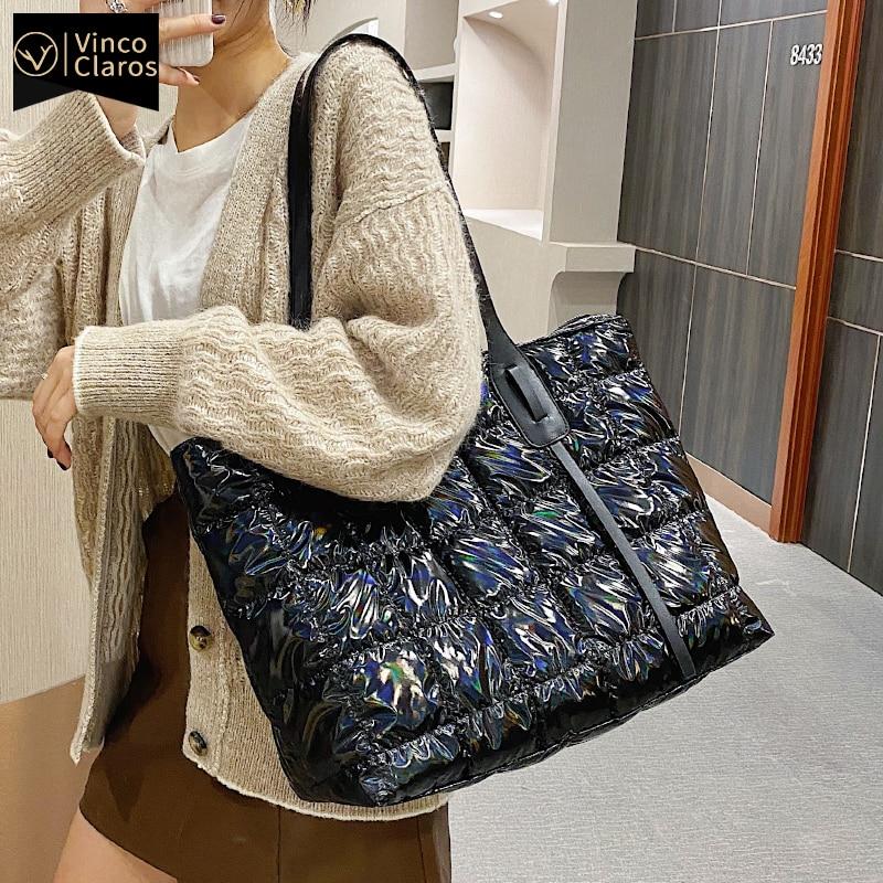 Fashion Laser Bright Surface Cotton Pillow Bag Women Large Casual Tote Luxury Handbags Designer Shopper Shoulder Bag 2020 Trend