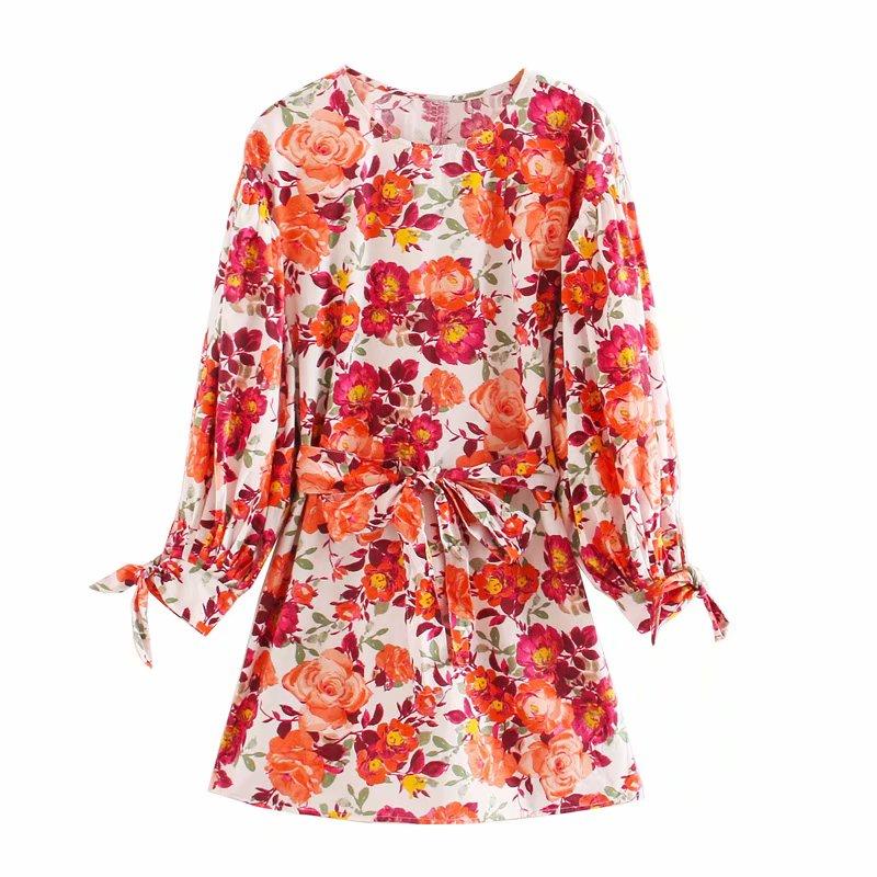 summer new ladies fashion ZA floral mini dress puff sleeve bow waistband 2020 women casual beach style dresses females vestidos
