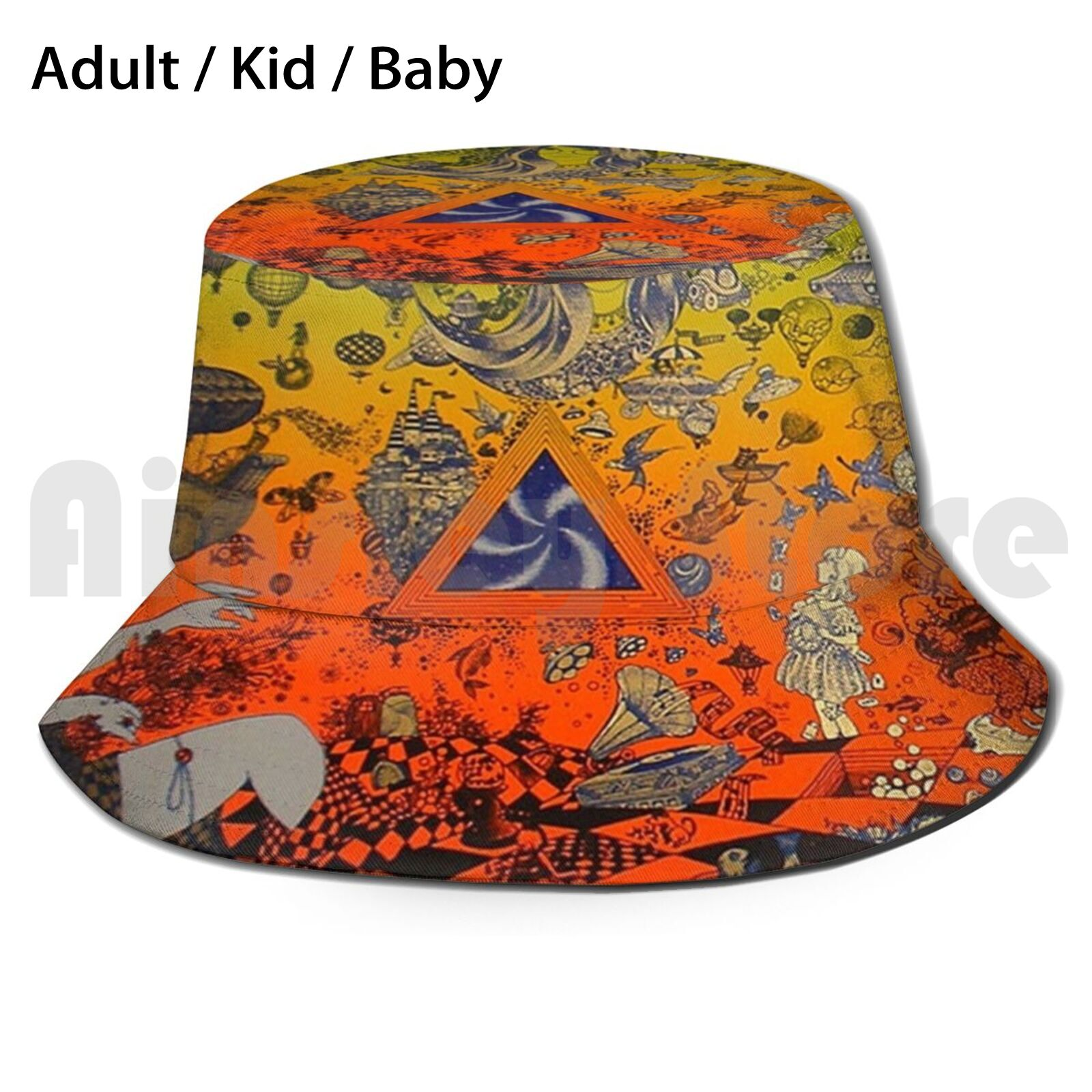 The Culture Psychedelic Sun Hat Foldable UV Protection Music Pink Metal Concert Floyd Tour Heavy