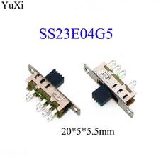 YuXi SS23E04 interruptor de doble palanca SS23E04G5 8 pines 3 archivos 2P3T DP3T mango alto 5mm pequeño interruptor deslizante
