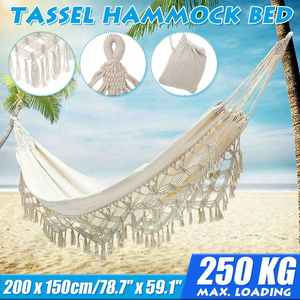 200x150cm Large Hammock Macrame Fringe Double Hammock Swing Net Chair Out/Indoor Hanging Hammock Swings With Storage Bag