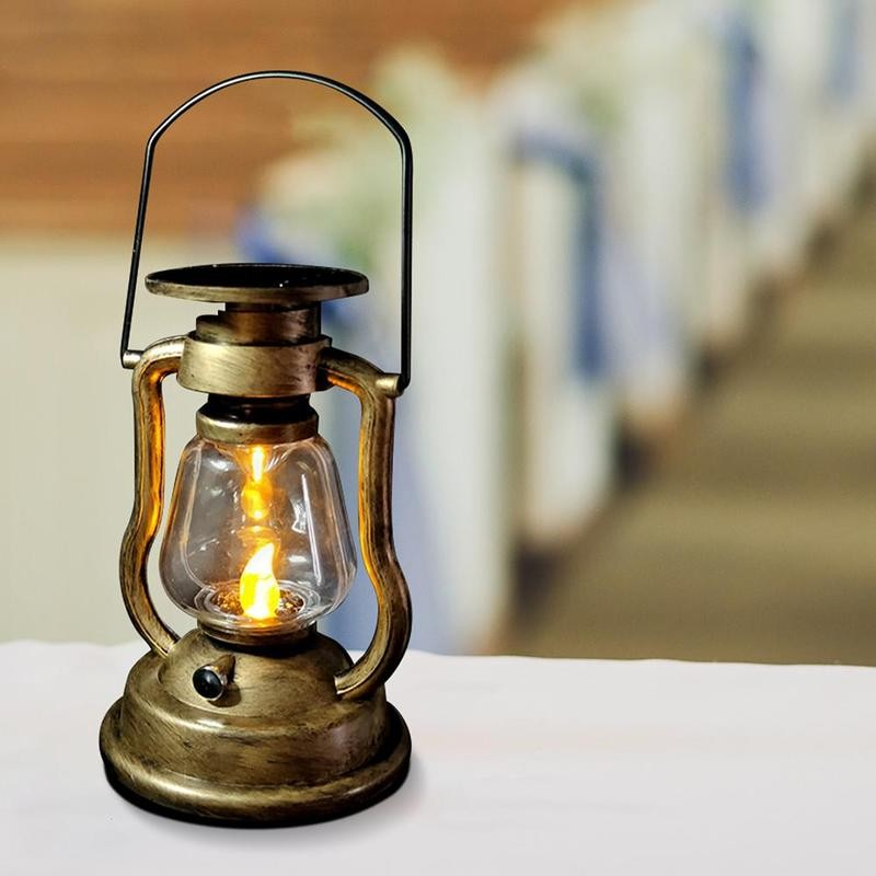 Solar Rechargeable Retro Oil Lamp Lantern Outdoors Garden Led Candle Wall Electronic Nightlight Light Home Vintage Decor Lights