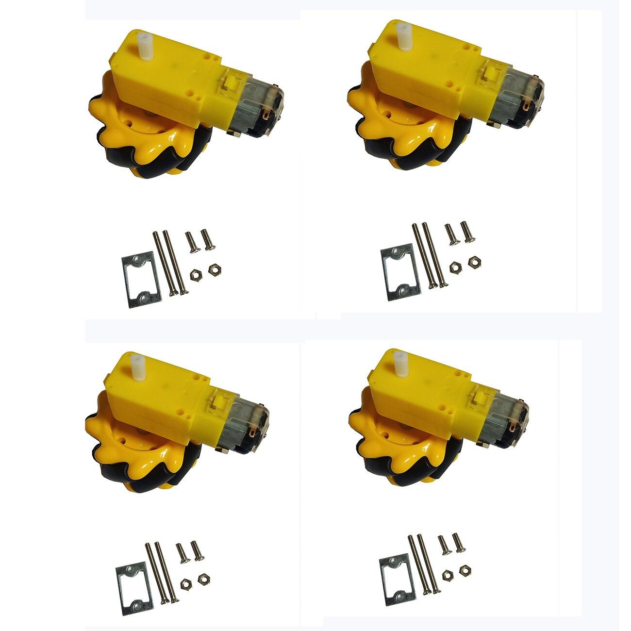 4 pçs 60mm roda mecanum + 4pcs tt motor + 4pcs tt montagem do motor para arduino diy projeto brinquedo peças de controle remoto