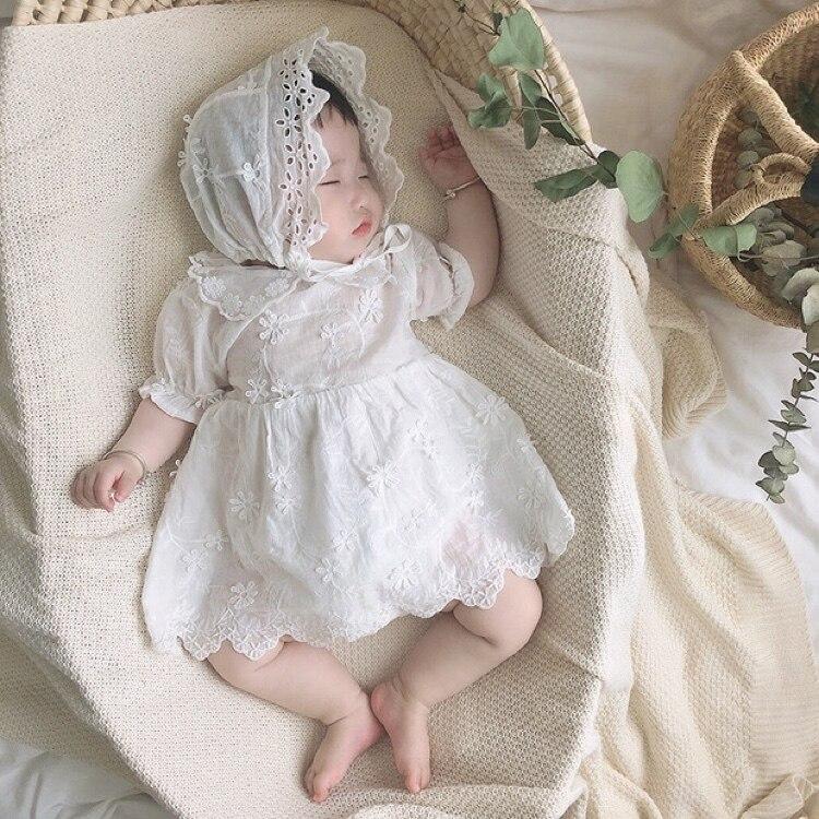 0-3Yrs, ropa infantil, mamelucos de verano 2020, mameluco de encaje de algodón para recién nacidos con gorro, conjunto de 2 uds, niñas en general, blanco