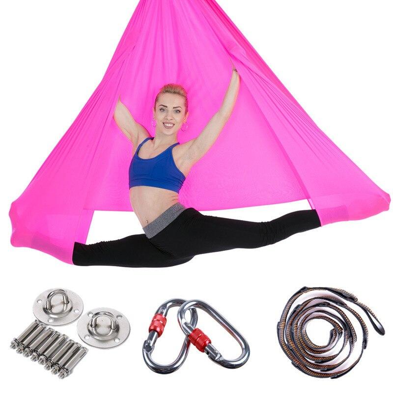 5*2.8m Yoga Rede Conjunto Completo Anti-Gravidade Trecho Inversão de Fitness Yoga Swing Hammock Para Força Aérea exercício Swing Voar