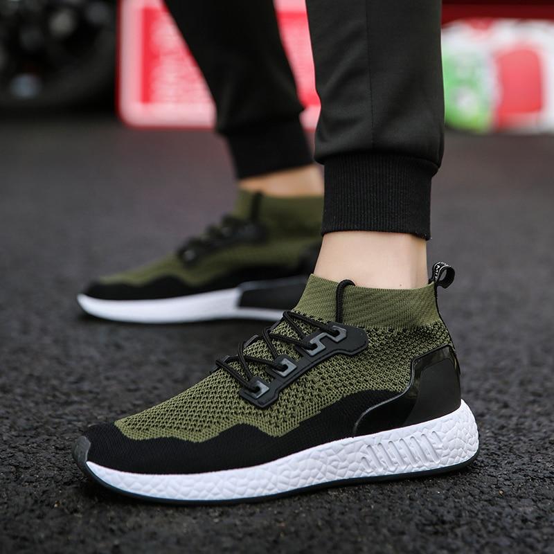 2020 جديد حذاء رجالي عادية النسيج يطير شبكة تنفس ضوء لينة أسود الانزلاق رجالي حذاء الذكور المدربين أحذية رياضية سباق الإنسان
