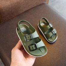 Boys Sandals Summer Kids Shoes Leather Children Beach Male Non-slip Rubber Student Sport Sneakers Ca