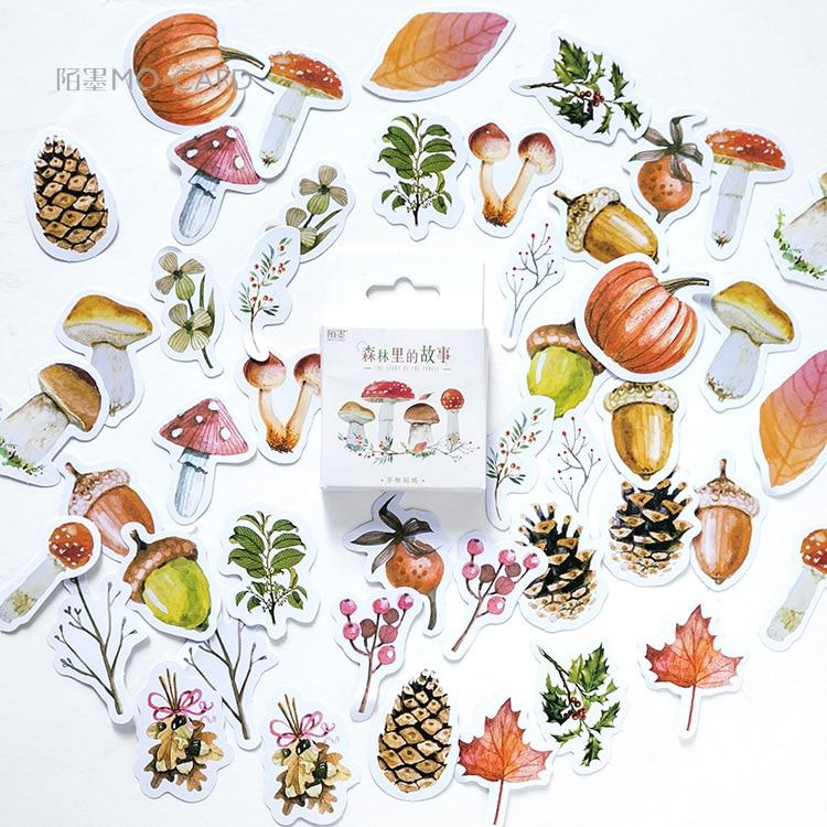 46 pièces/boîte automne de forêt journal autocollant Scrapbooking collant papeterie fournitures scolaires nouvelle papeterie