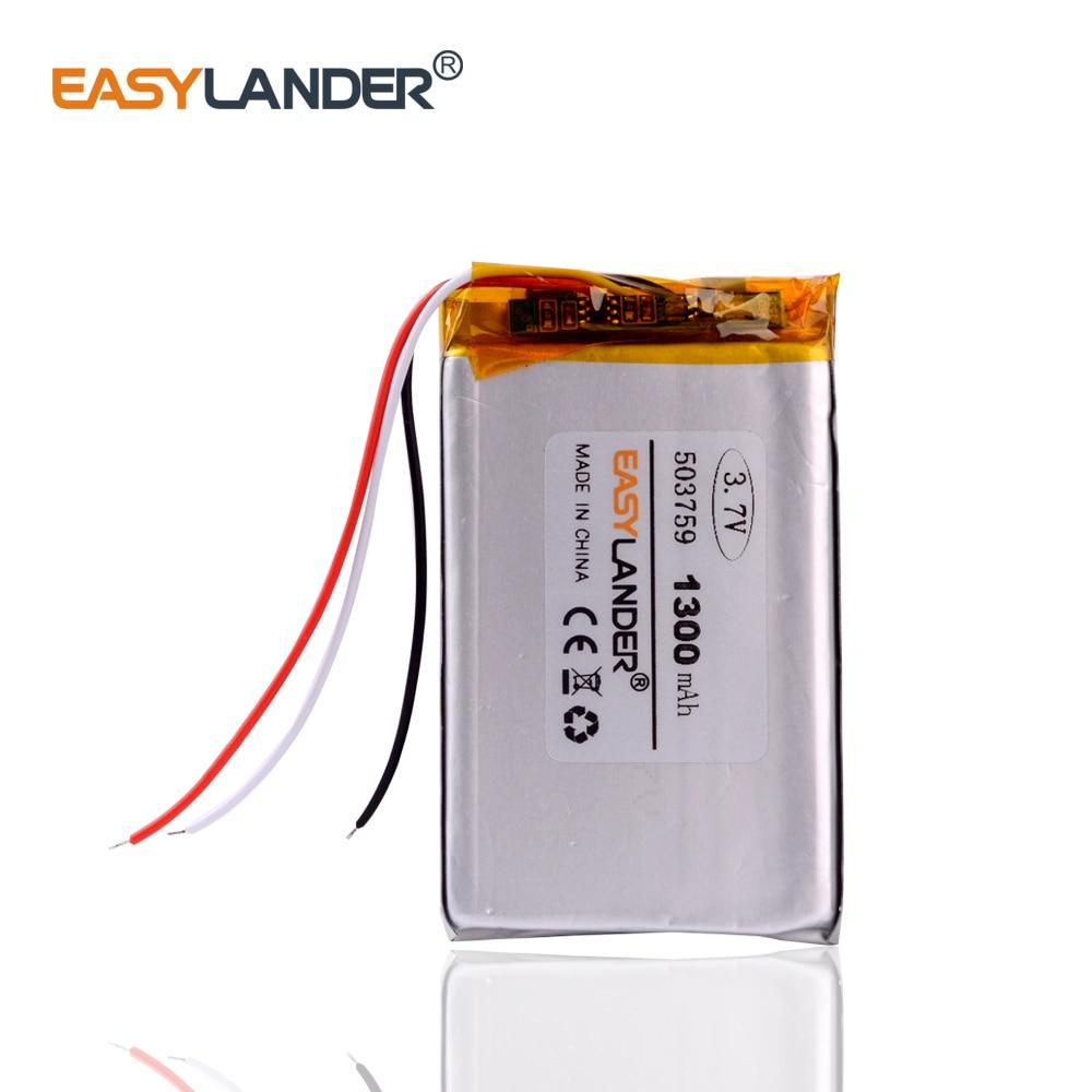3 line 1300mAh lithium polymer battery 3.7V 503759 navigator MP3 GPS universal rechargeable battery 053759