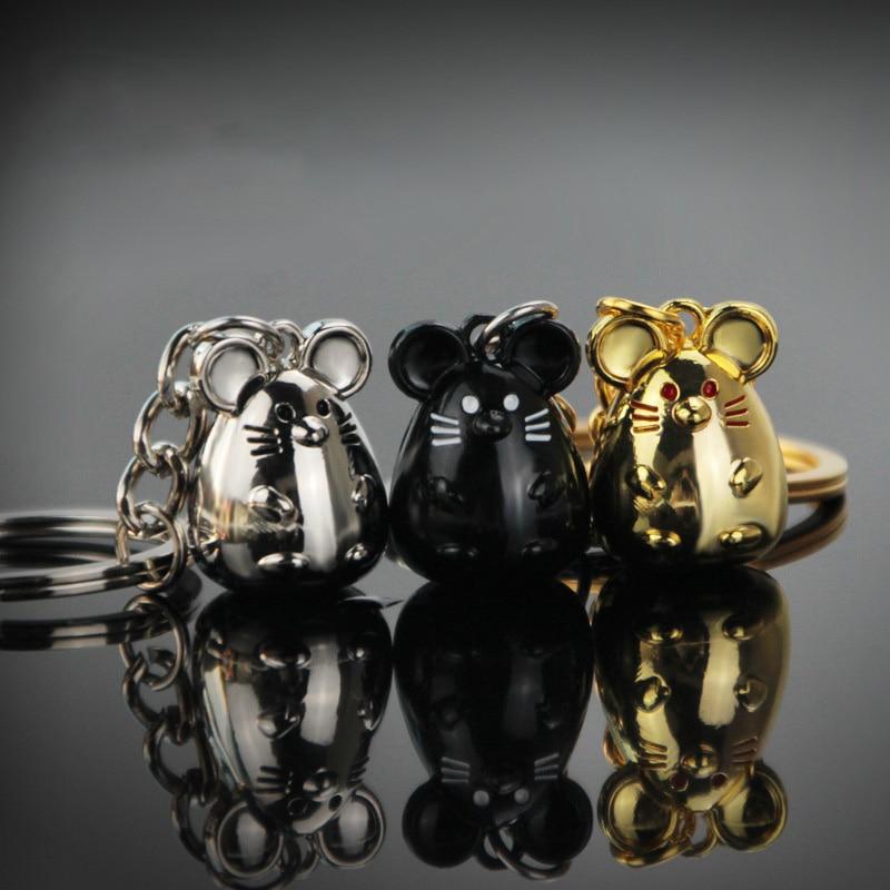New Chunky Rat Mouse Keychain Fashion Trinket Animal Car Keyfob Bag Pendant Key Chain Holder Animal Keyring for Women Gift