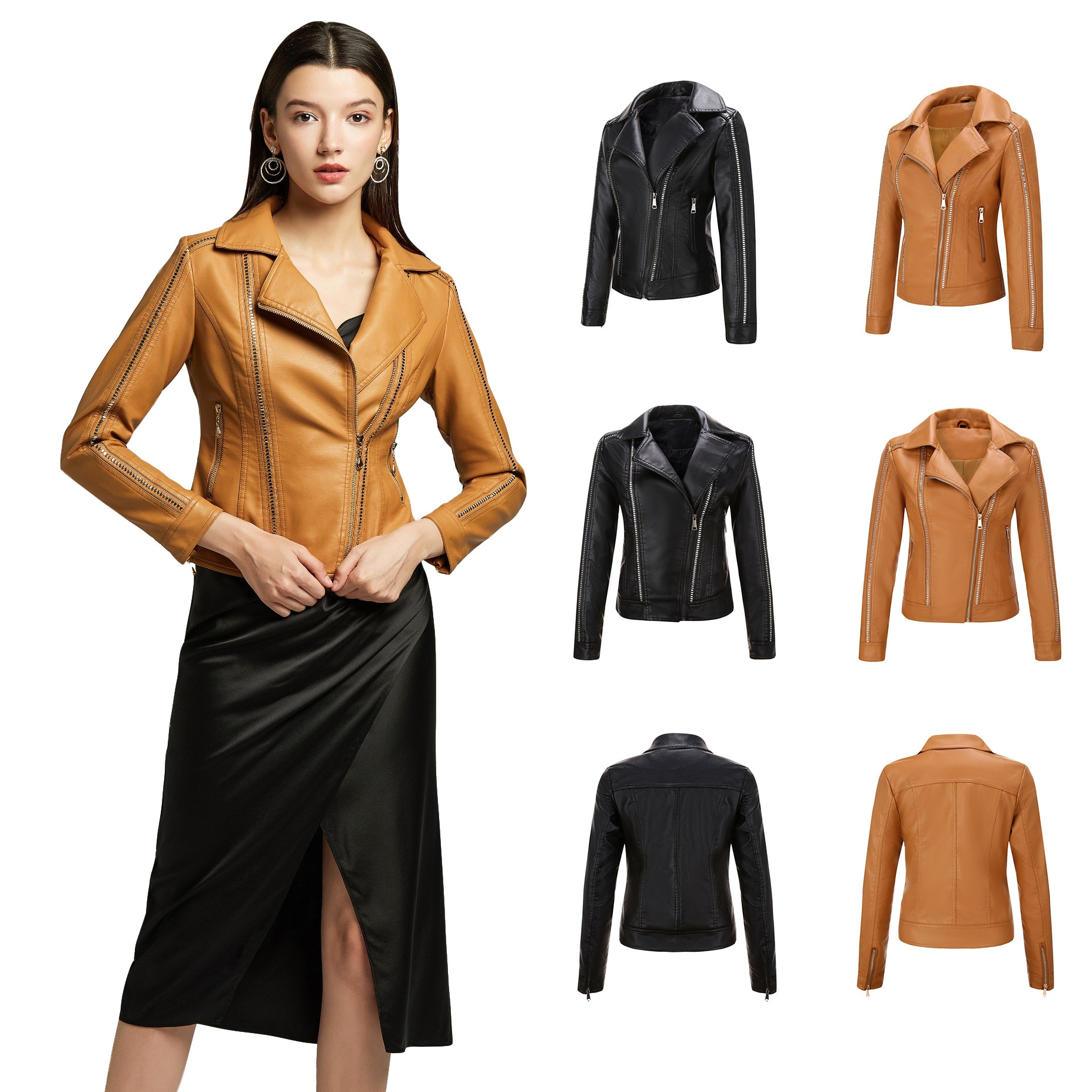 Women's jacket women's leather jacket rivet trend inclined zipper V-neck women's leather jacket explosions leather jacket