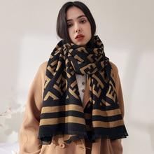 2021 Fashion Brand Cashmere Women Geometr Scarf Winter Warm Shawl Wrap Bandana Pashmina Long Tassel