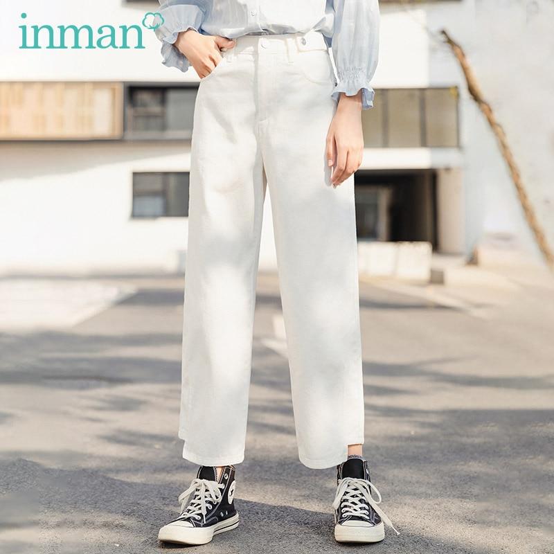 INMAN 2017 Winter New Arrival Pure Color Casual Straight Leg Skinny Black Pencil Trouser