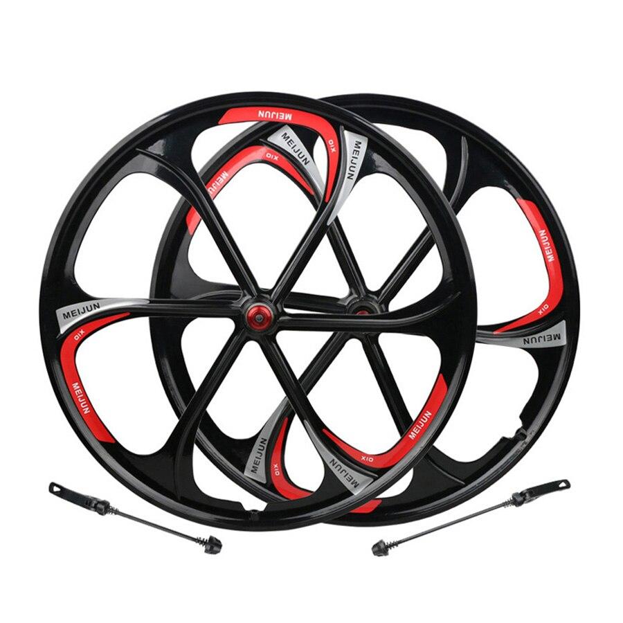 Rueda de aleación de magnesio para bicicleta de montaña de 26 pulgadas, juego de ruedas para cubo giratorio de 6 radios, llantas para freno de disco de bicicleta MTB