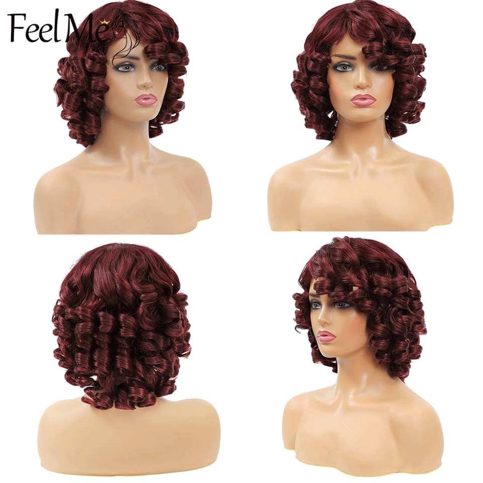 FEEL ME Short Curly Afro Wig with Bangs Dark Brown Black Synthetic Wigs for Women Heat Resistant Fiber 14 Inch Loose Wave Wig