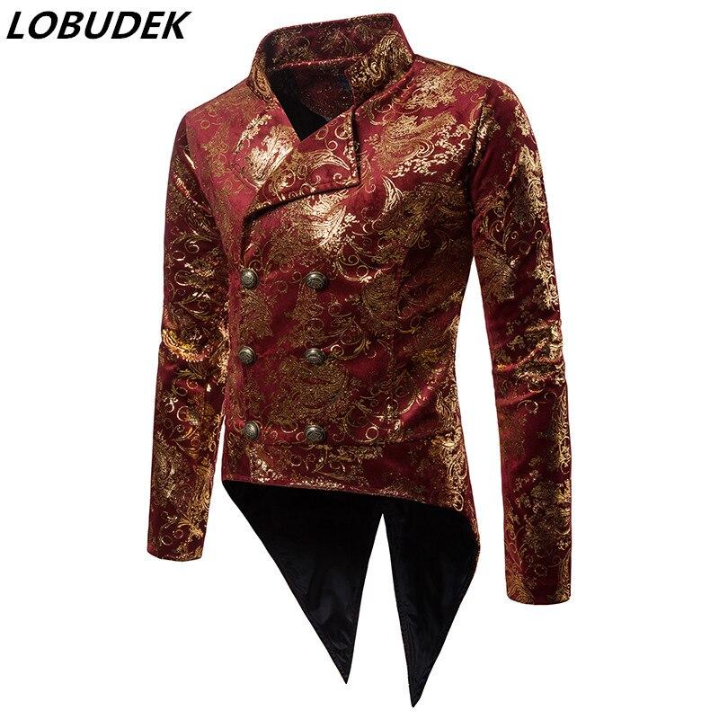 Chaqueta de esmoquin de bronce para hombre, abrigo, chaquetas Steampunk de doble botonadura, abrigo Vintage dorado con cola de golondrina estampada roja, traje para escenario