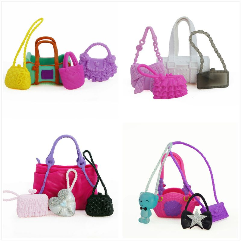 4 Pcs/ Set Cute Bags Colorful Shoulder Handbag Doll Accessories For Barbie Doll Baby Girl Kids Toy G