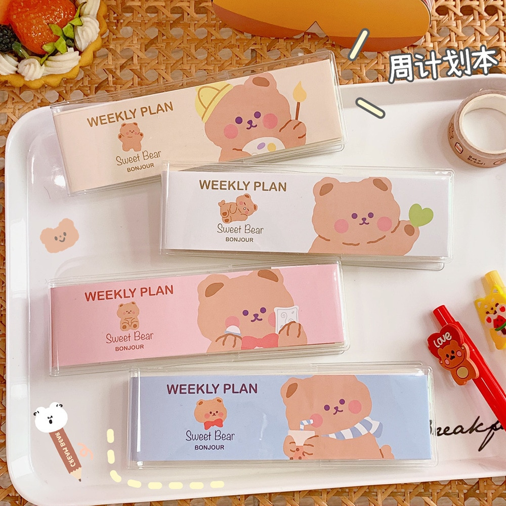 Korean Cute Bear Memo Pad Student Mini Pocket Vocabulary Book Girl Heart Week Plan Small Notebook Notepad Sticky Notes Office 40packs lot cowhide korean retro exercise book student cute soft face copy small book cartoon notebook