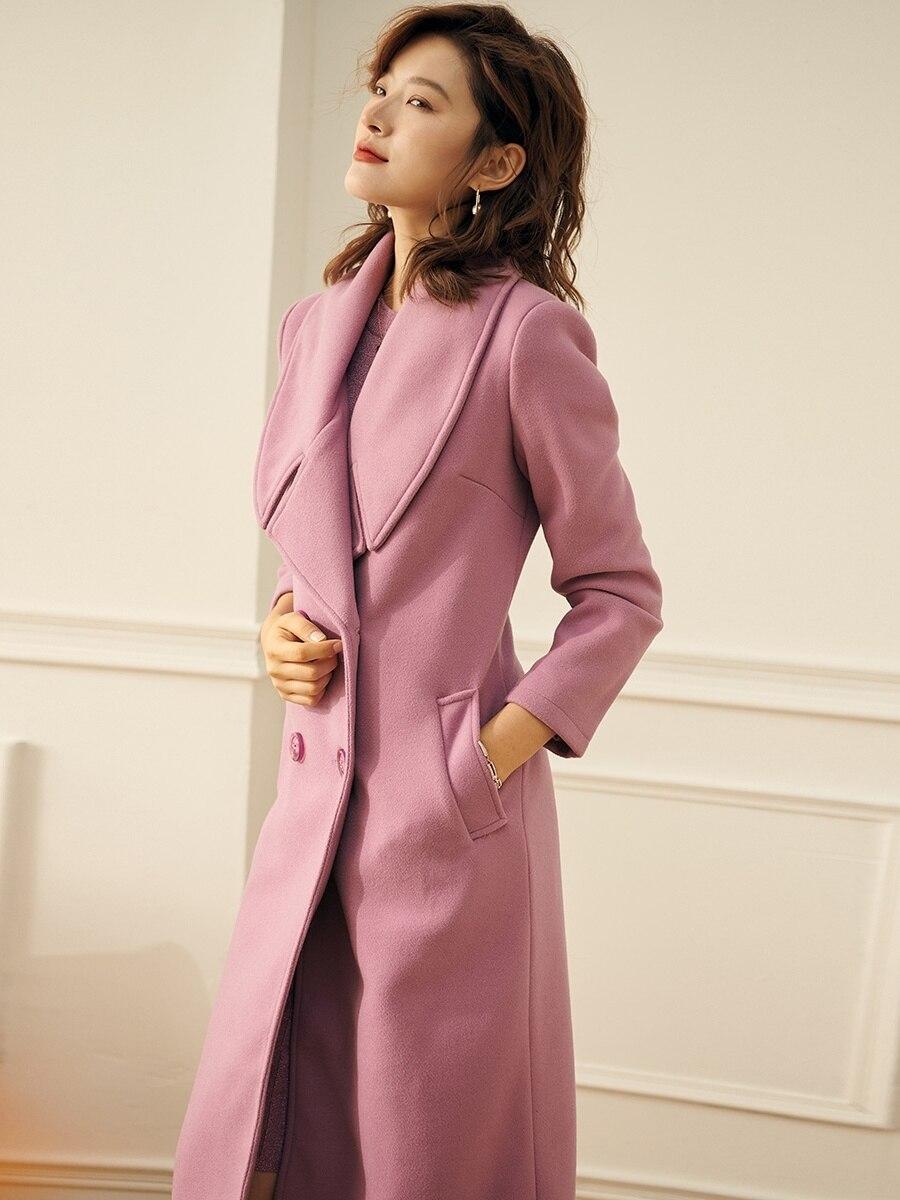 نمط جديد كبير التلبيب الأرجواني طويل الصوف سميكة مزدوجة الصدر الصوفية vintage معطف البريطانية