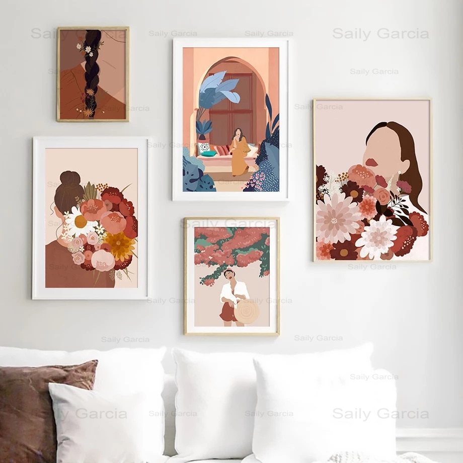 Retro Abstract Girl Canvas Fashion Picture Personality Decorative Art Painting Poster Wallpaper for Living Room Bedroom Hotel