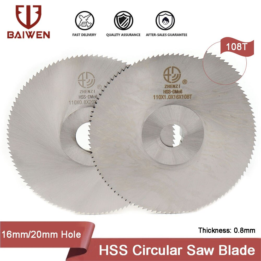 110mm 108T HSS Circular Saw Blade Cutting Wheels Metal Cut Off Discs Power Tools Accessories For Iron Stainless Steel