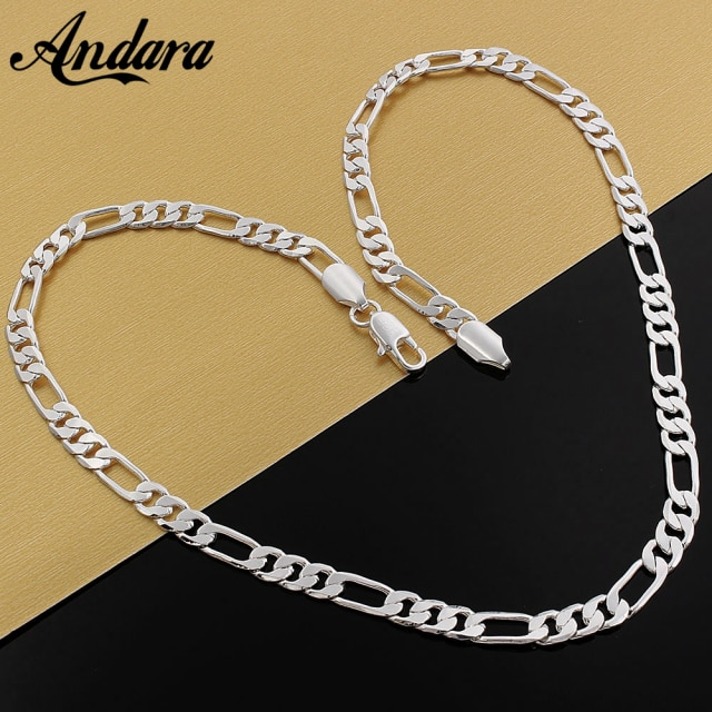 925 Silver Necklace Three Rooms One Ferrero Necklace Silver Chain Men&Women Silver Necklace Fashion Classic Jewelry 4MM