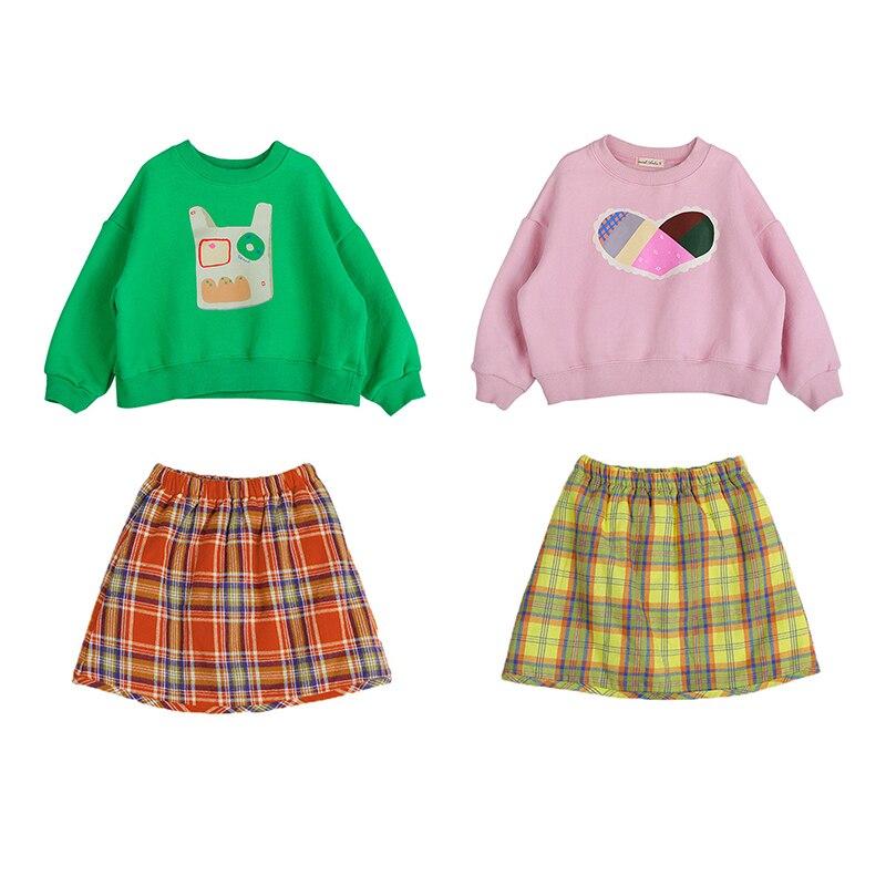 Autumn Winter Plus Velvet Children Girl's Pullover Sweatshirt Plaid Skirt Suit Kid Baby Boy Girl Clothes Long Sleeve Pullover