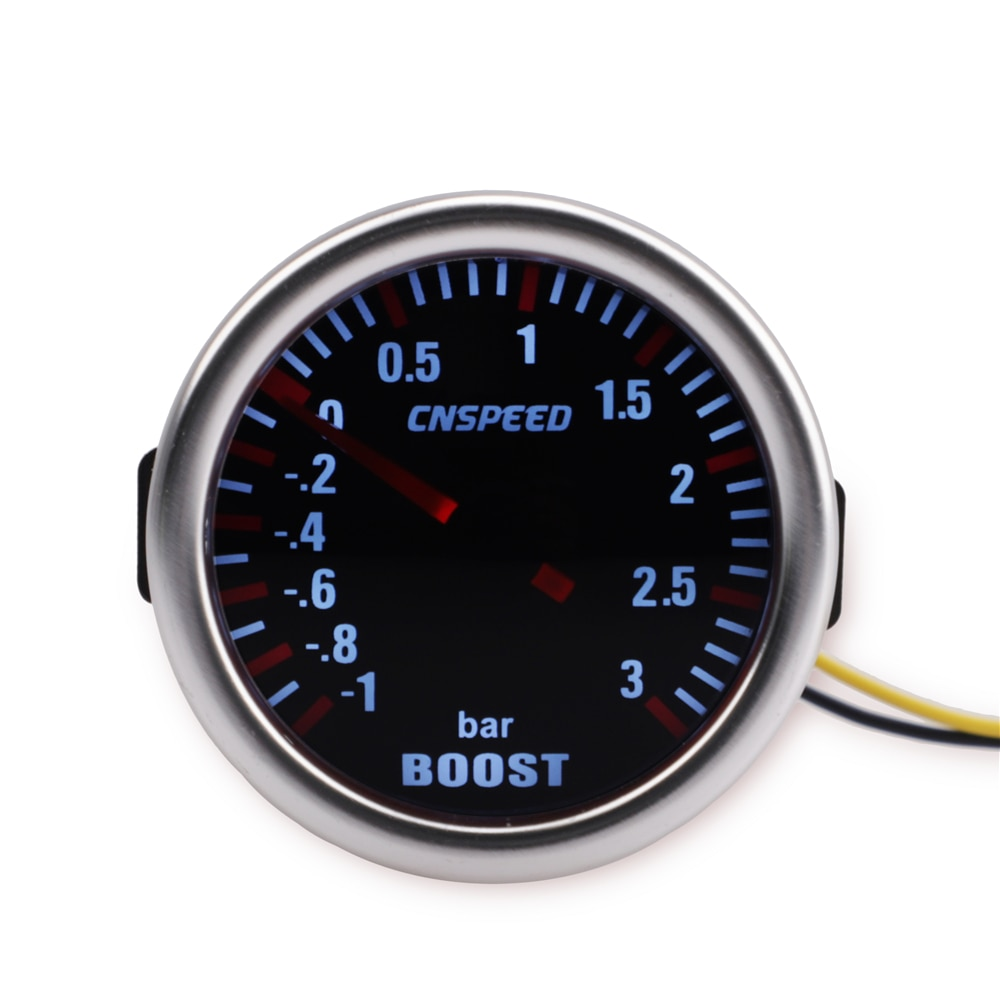 "CNSPEED Universal 12V Auto potenciador Turbo de coche de 1-1 ~ 0 ~ 3 BAR 2 ""52mm humo Len puntero Turbo Boost Bar medidor Digital LED blanco"