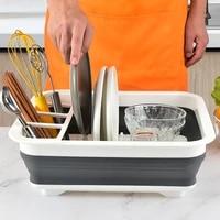 table plastic storage rack home foldable drain dish drying rack kitchen shelf spice organizador cocina household items 60aa01