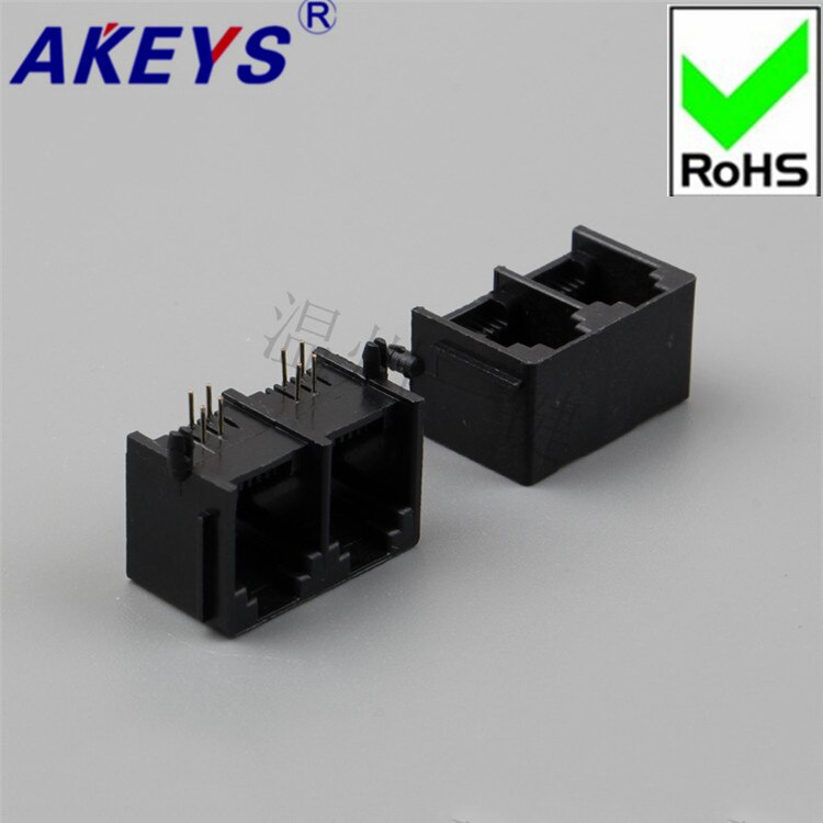 Soquete lateral horizontal rj45 do soquete da rede de 10 pces 5521-2 Connection-6P2C-Band-90 Degree-Black-RJ11