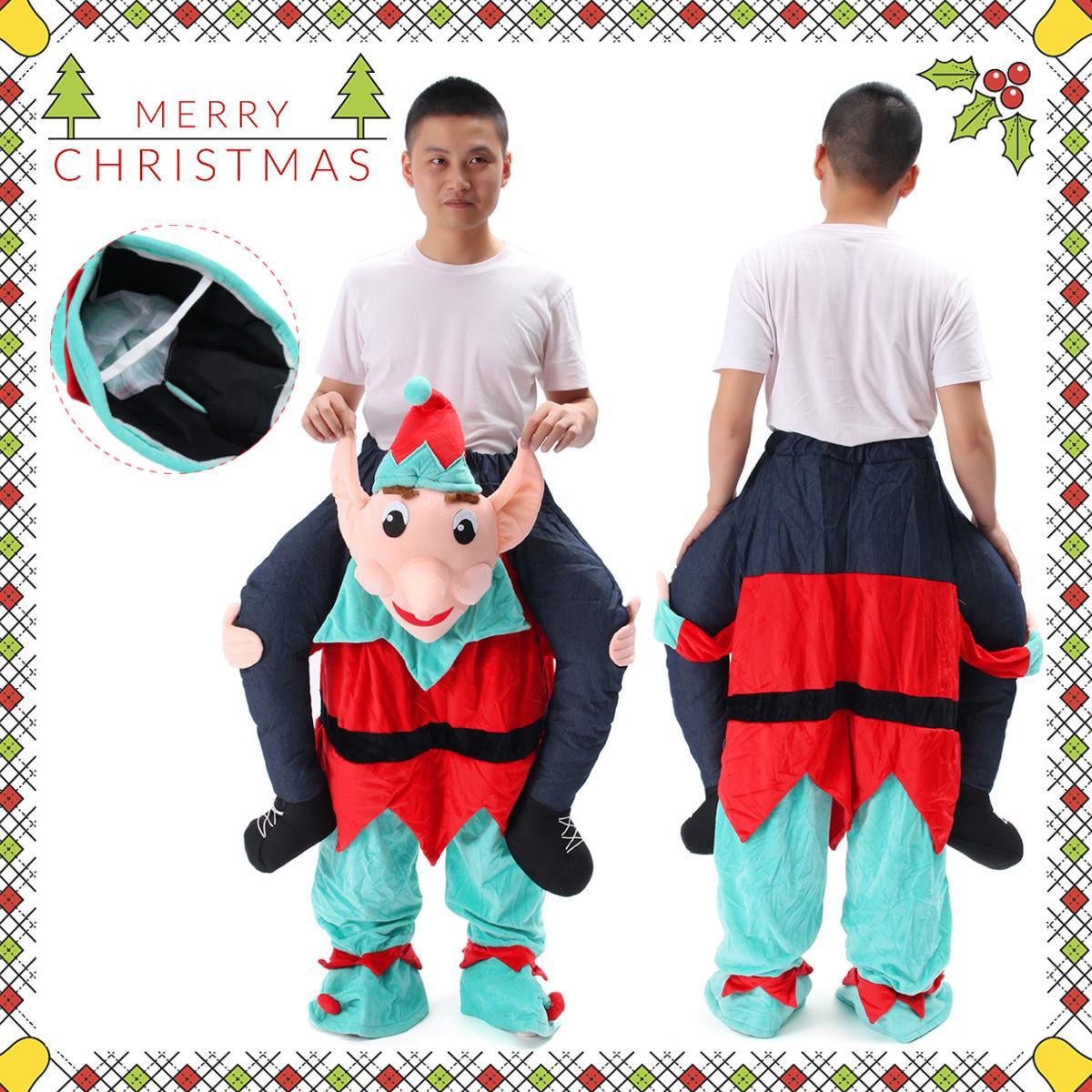 Disfraz de Halloween de duende de Papá Noel, traje de Mascota, vestido de lujo, pantalones divertidos para fiesta de navidad