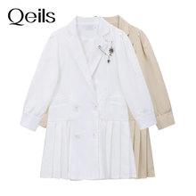 Qeils Women Double Breasted Blazer Dress Autumn Winter Women Long Sleeve Elegant Solid Plelated A-Li