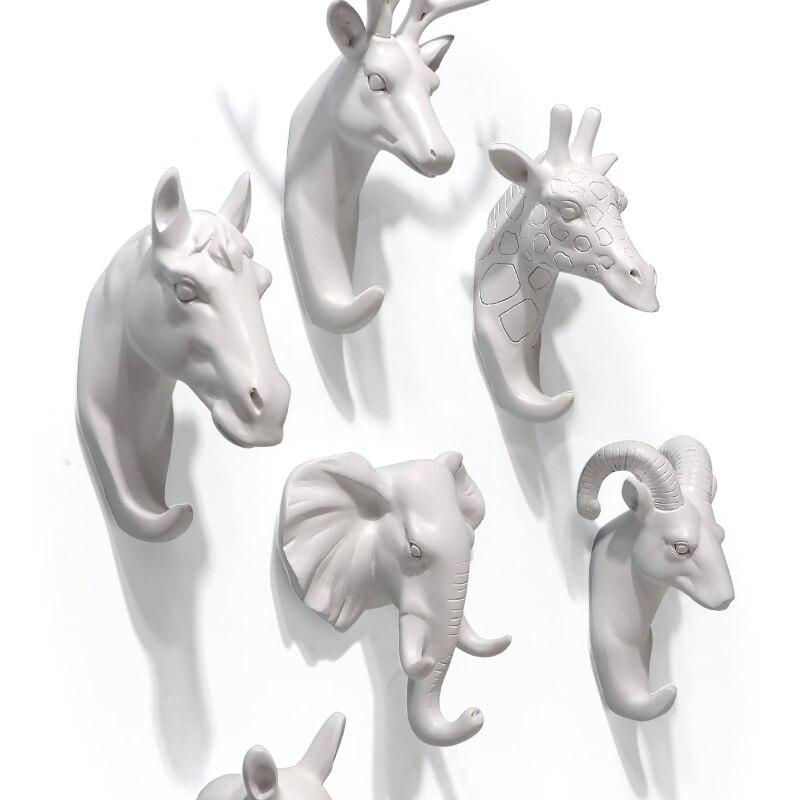 Gancho tridimensional para decoración de animales, colgador de pared con cabeza de venado, rinoceronte, ropa, sombrero para percha, bolsa, gancho, material de resina animal