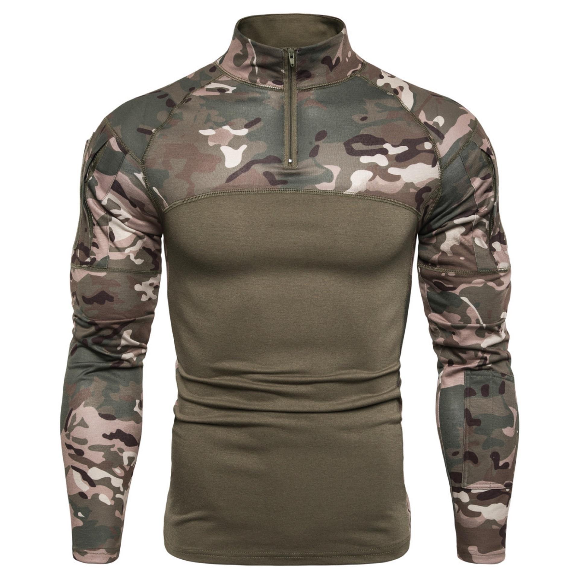 Mege camuflaje táctico militar ropa de combate camisa de asalto multicámara ACU manga larga ejército apretado camiseta ejército USMC traje