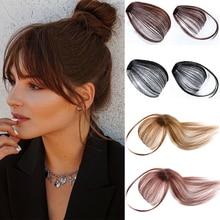 Clip de pelo con flequillo de aire para mujer, extensiones de cabello sintético, accesorios de cabello falso