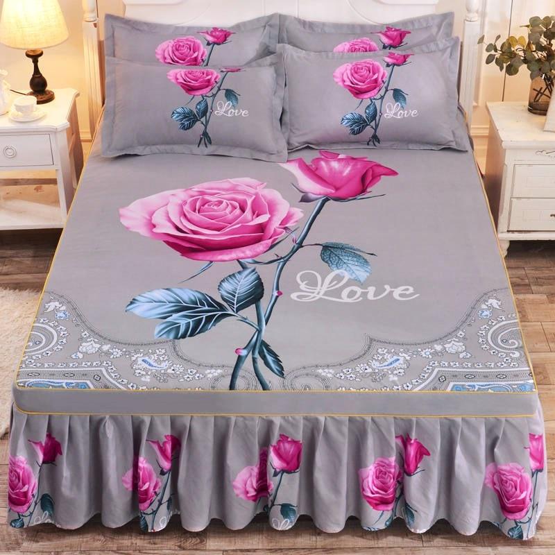 Colcha gruesa, sábana ajustada para boda, cubierta suave antideslizante, falda de cama King Queen, 100% estampada, poliéster Floral LST
