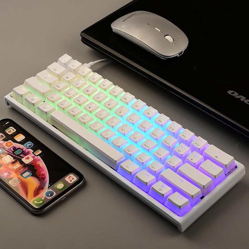 Проводная Механическая клавиатура Magic Refiner MK25, 61 клавиша, RGB-подсветка, эргономичная игровая клавиатура, подходит для геймеров на ПК