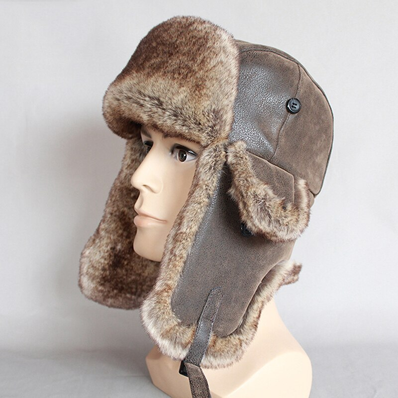 قبعات الرجال الشتوية الدافئة الروسية Ushanka قبعة مع الأذن رفرف بو الجلود الفراء الصياد قبعة إيرفلاب قبعة الأذن للرجال النساء