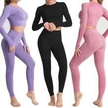 Sin las mujeres yoga conjunto Fitness deportes trajes paño de gimnasio Yoga Camisas manga larga cintura alta corriendo Leggings para hacer ejercicio camisas