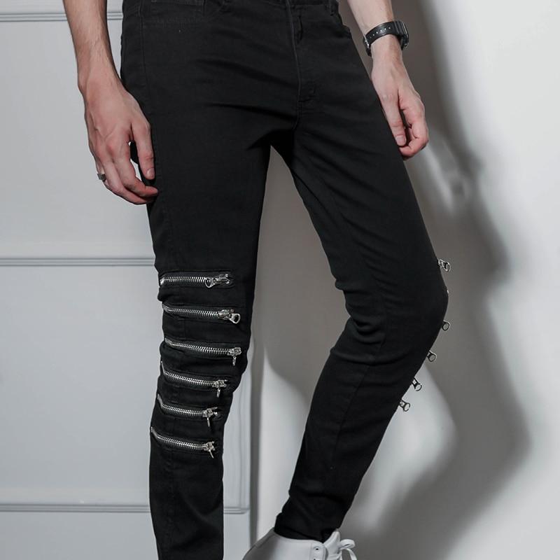 Pantalones delgados para hombre moda tendencia coreana pies delgados estiramiento rodilla cremallera tamaño jeans tipo hip-hop