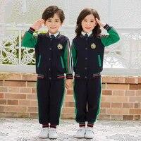 2021 new spring autumn childrens uniform sports suit school uniform velvet thickened sportswear baseball set kids clothes