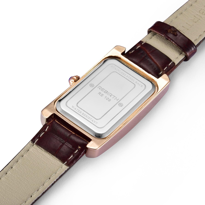 REBIRTH Brand Watch Women Elegant Retro Watches Fashion Ladies Quartz Watches Clock Women Casual Leather Women's Wristwatches