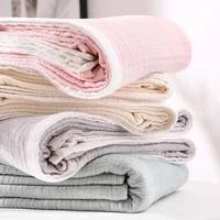 solid color white border gauze quilt breathable summer washed cotton nap cover blanket single double children adult blanket